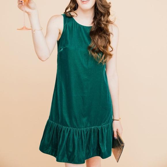J. Crew Dresses & Skirts - J. Crew emerald green holiday velvet dress